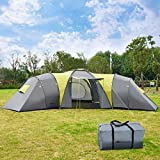 COSTWAY 9 Person Tunnel Tent with 3 Bedrooms...