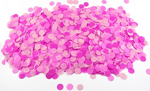 1 Inch Round Tissue Paper Confetti Circles - 2.8oz - 10,000 Pieces/Pack (Pinks)