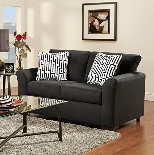 Roundhill Furniture Mazemic Microfiber 2 Seater Sofa And Loveseat Set With Pillows Black Sofas