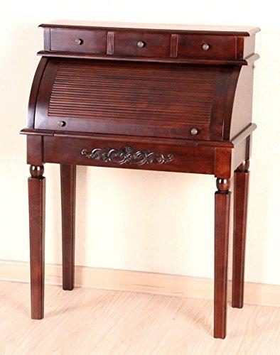 International Caravan Hand Carved Indoor Wood Roll-Top Desk