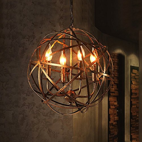 Light Wrought Iron Foyer Fixture (NIUYAO Industrial Vintage Rustic Wrought Iron Style Aged Brass Candle Chandelier Globe Shade Pendant Light Hanging Lighting Fixture with 4 lights)