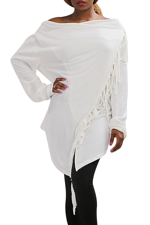 Rokiney Women's Winter Long Sleeve Irregular Wraped Cardigan Coats With Tassels