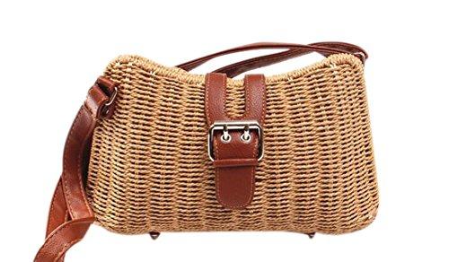 KISS GOLD(TM) Ladies Vintage Straw Woven Bag Beach Handbag Crossbody Shoulder Bag, Brown