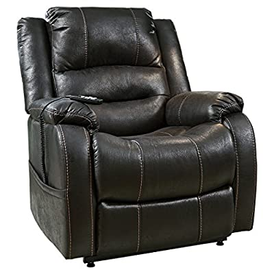Signature Design by Ashley Yandel Upholstered Power Lift Recliner for Elderly, Black