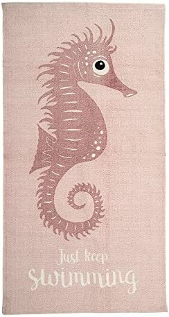 Bloomingville A32706177 Rug with Rose Seahorse