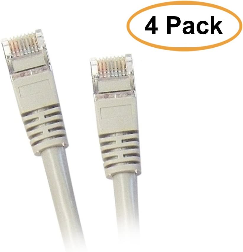 Gray ACL 25 Feet Shielded Cat5e Snagless//Molded Boot Ethernet Cable 5 Pack