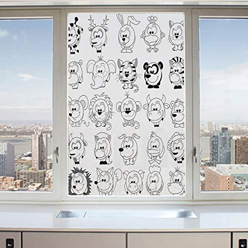 3D Decorative Privacy Window Films,Assortment of Cartoon Style Animals Cat Zebra Girraffe Pig Panda Monkey Animal Fun,No-Glue Self Static Cling Glass film for Home Bedroom Bathroom Kitchen Office 17.5