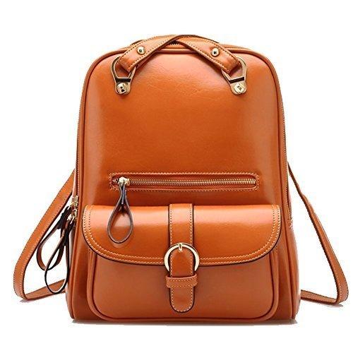 British Girl School - Tinksky® Vintage Retro British Wind Shoulders Bag Fashion Girl's Student Backpack School Bag (Dual Use Brown)