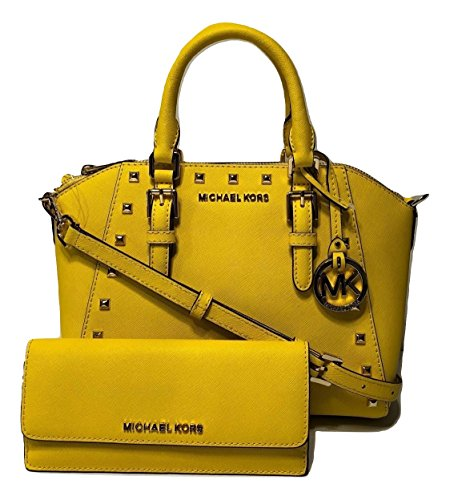 Michael Kors Ciara Studded MD Messenger Handbag bundled with Michael Kors Jet Set Travel Flat Wallet (Citrus)