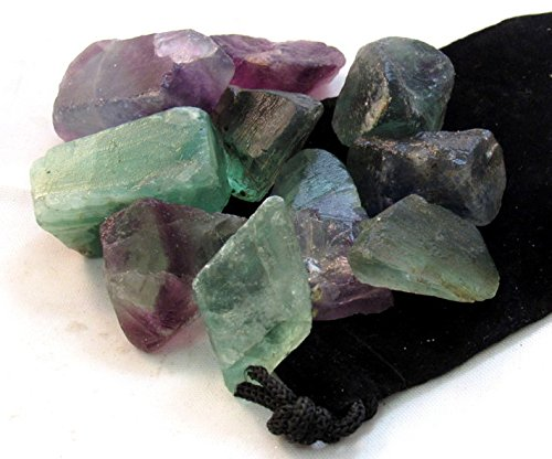 Zentron Crystal Collection: Fluorite All Natural Rough Stones and Velvet Pouch (1 Pound)