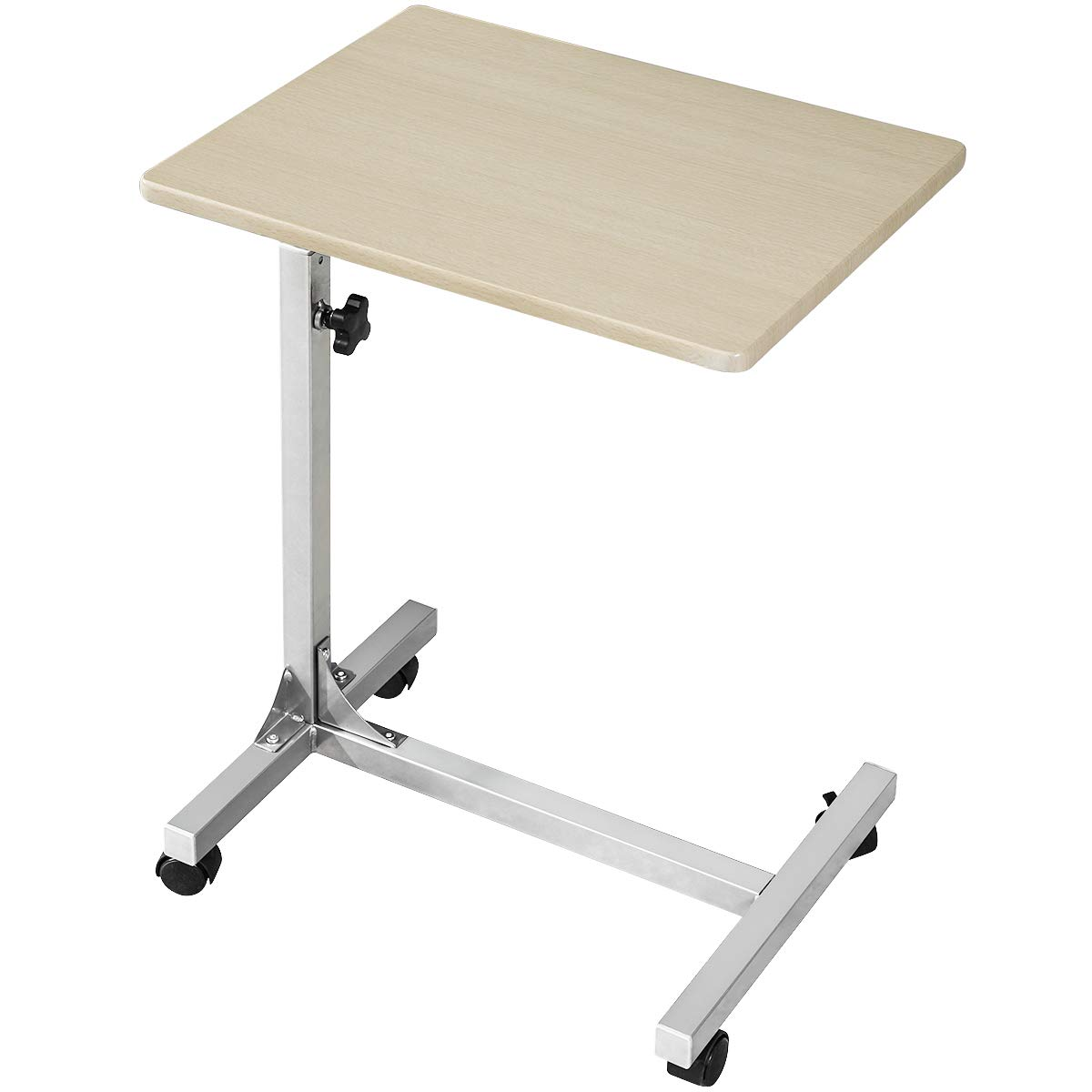 Coavas Laptop Desk Medical Adjustable Height Over Bed Table Multi-Purpose Portable Sofa Side Table with Wheels, Beech (18.9x14.6x26.4-31.1 inch) by Coavas