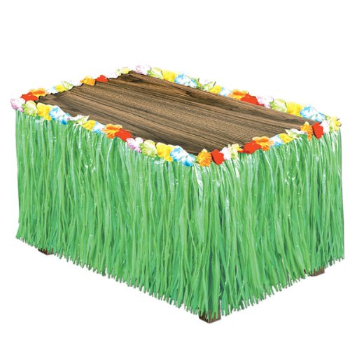 Luau Artificial Green Grass Table Skirting [6 Pieces] - Product Description - Serve The Hawaiian Luau Buffet To Your Guests At The Party In Style By Decorating The Tables With This Artificial Grass Flowered Table Skirting. It Is Green In Color A ...