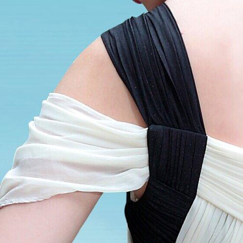 Elfenbein Reissverschluss Aermellos Schulter Kleidungen und Kurz Dearta Schwarz Linie A 1 Mini Damen Chiffon Abendkleider 6zwYqF