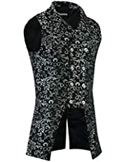 Darkrock Men's Double Breasted Governor Vest Waistcoat VTG Brocade Gothic Steampunk/Jacket (2XL, Silver)