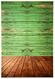 Photo Backdrop - Wooden Photo-Booth Background with Vintage Green Wood Flooring, Green Photography Background for Studio, Wedding, Birthday Party, 5 x 7 Feet