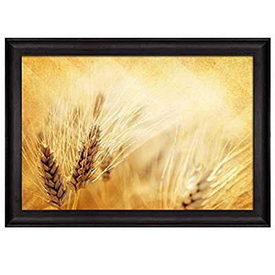 Original Creation, Incredible Piece, Gold Wheat Field Over an Illuminating Gold Background Nature Framed Art