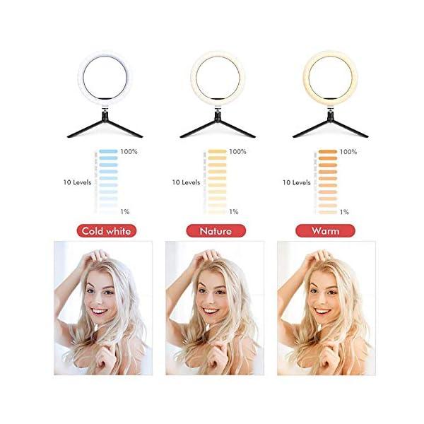Yinuneronsty 10 Pouces LED Light Ring, avec Trépied Et Téléphone Support Réglable Annulaire, Alimenté par USB 3 Modes…