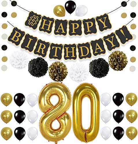 Black 80th BIRTHDAY DECORATIONS PARTY KIT - Black Gold and White PomPoms | Latex Balloons | Gold Number 80 Ballon | 80th Birthday Party Decorations | Great 80 Year Old Party Supplies -