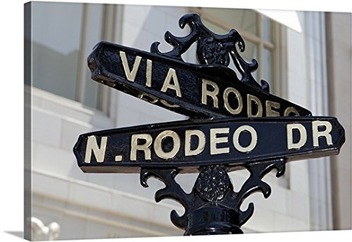 Canvas On Demand Premium Thick-Wrap Canvas Wall Art Print entitled Rodeo Drive, Beverly Hills sign - Hills Drive Shopping Beverly Rodeo