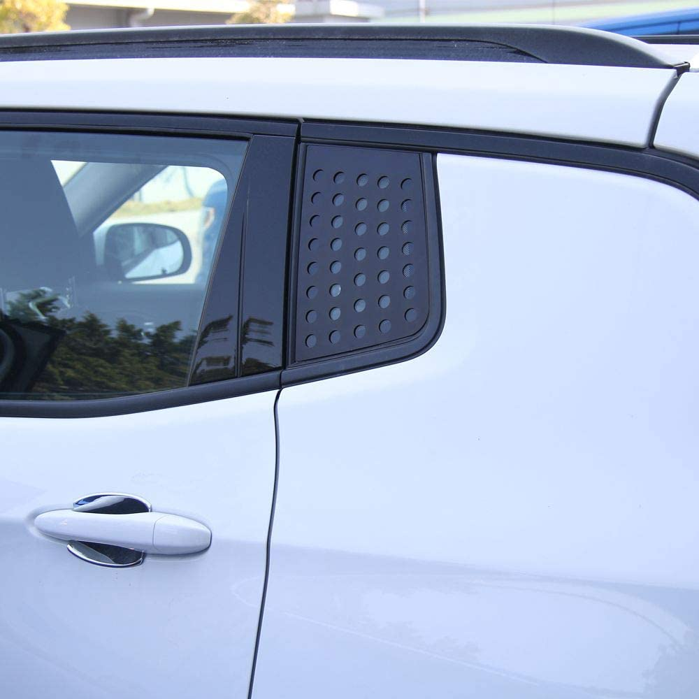 Black JeCar Rear Triangle Glass Decor Cover Aluminum Alloy Panel Trim for Jeep Compass 2017-2020