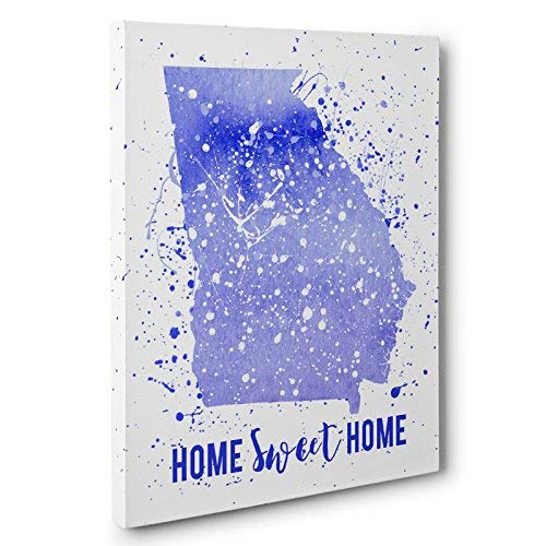 Watercolor Paint Splatter Georgia Canvas Wall - Georgia Paint
