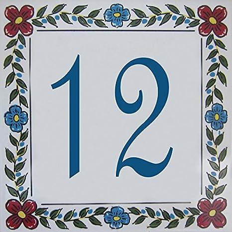 Azul'Decor35 Numéro de Maison personnalisable en faience – Choisissez votre numéroet la taille de votre plaque de rue ! Azul'Decor35
