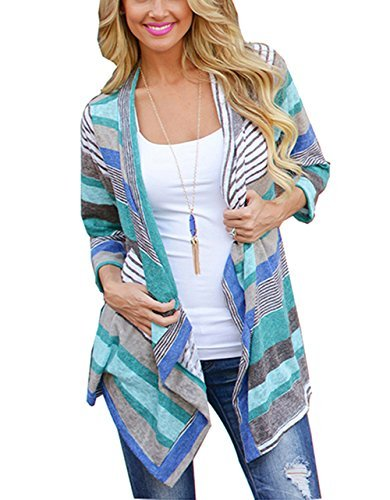shion Knit Cardigan with 3 4 Sleeve Striped Printing Swing Hem Blue L (Jeans Women Sweaters Cardigans)