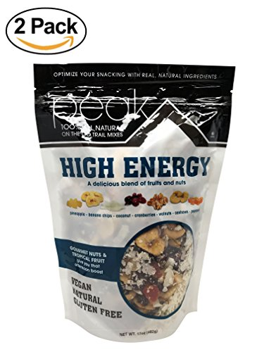 Peak Trail Mix - High Energy, 100% All natural, Vegan, Gluten Free delicious blend of fruits and nuts. (Pineapple, Banana Chips, Coconut, Cranberries, Walnuts, Cashews, Papaya) 2 pack