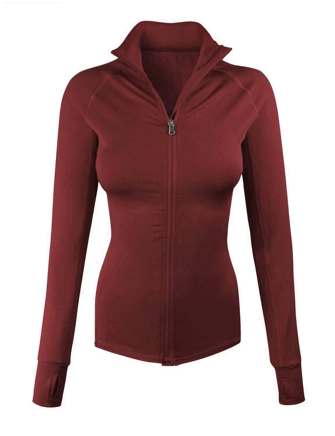 makeitmint Women's Comfy Zip Up Stretchy Work Out Track Jacket w/Back Pocket Small YJZ0002_02CRIMSON