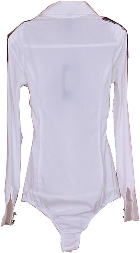 ZAMME De la Mujer de Manga Larga charretera Delgado Camisa Body Blusa Superior: Amazon.es: Ropa y accesorios
