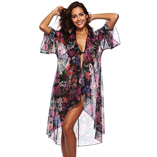 Sciolto Chiffon Donna Solare Manica Abito Bagno Stampa 4 Baijiaye Costumi Protezione Da Da 3 Nero Cardigan Cover Per Bikini A Spiaggia 8qv5dFdw