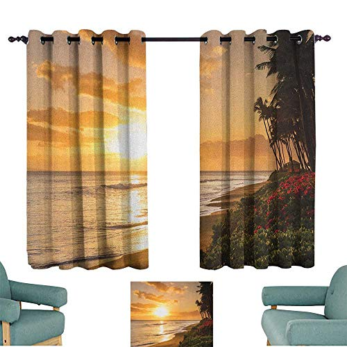 WinfreyDecor Hawaiian Customized Curtains Warm Tropical Sunset on Sands of Kaanapali Beach in Maui Hawaii Traveling Suitable for Bedroom Living Room Study, etc.55 Wx45 L Orange Green Pink