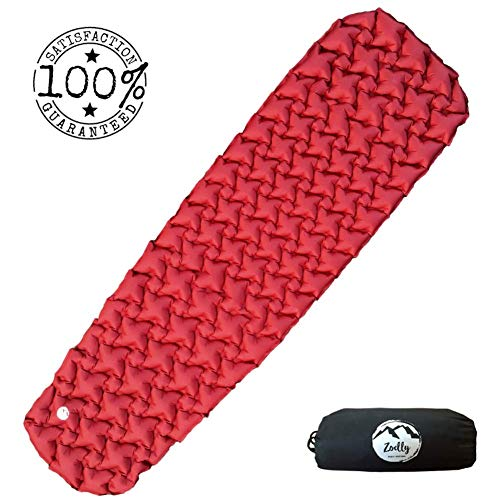 ZOELLY Ultralight Sleeping Pad, Camp Sleep Pad Durable, Inflatable Sleeping Pad – High Grade Pongee Compact Lightweight – Perfect Sleeping Pad for Camping, Backpacking, Travel or Relaxing