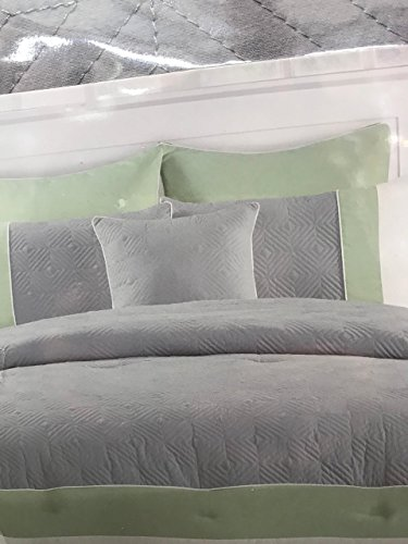 Duck River Textiles Spain-6 Hotel Quilted Overfilled Comforter Set, Sage/Grey, King (Piece of 6) by Duck River Textiles