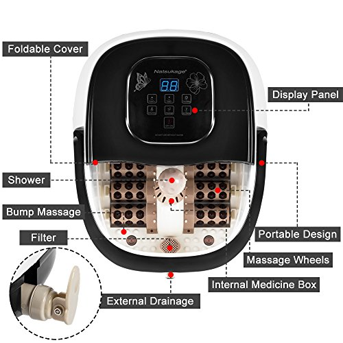 Natsukage All in One Luxurious Foot Spa Bath Massager Motorized Rolling Massage Heat Wave Digital Temperature Control LED Display Fast US Shipping (Type 3) by Natsukage (Image #1)