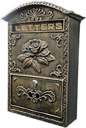 メールボックス 花のメールボックスヨーロピアンスタイルの中庭の家の装飾のために文字スタンプ新聞ブロンズレターボックスを壁掛け 手紙を受け取るため (Color : As Shown, Size : 27.5x10.2x40cm)