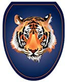 Toilet Tattoos, Toilet Seat  Cover Decal, Orange Tiger, Size Elongated
