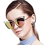 Women Cateye Sunglasses, BLUEKIKI YEUX Vintage Eyeglasses Polarized Mirror Lens Designer (Rose gold)