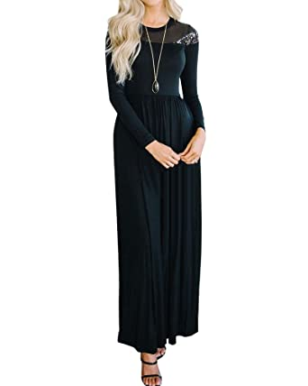 yomisoy womens maxi dresses sequin long sleeve empire waist christmas cocktail dress with pocket
