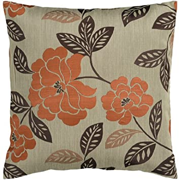 Diva At Home 18 Orange and Chocolate Brown Romantic Floral Decorative Throw Pillow