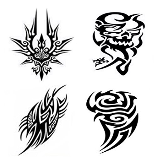 [4 Sheets Arm Tattooes Special Totem Temporary Tattoo Sticker Decal Body Art Waterproof Fake Ideal for Men/Women Arm, Leg 22x15cm--Group] (Book Week Group Costumes)