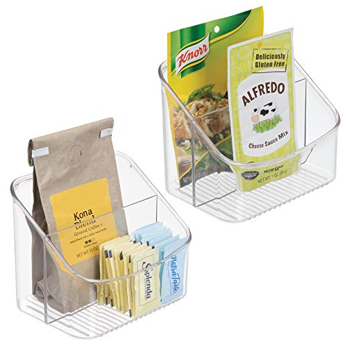 - mDesign Kitchen Pantry, Cabinet, Countertop Shelf Packet Organizer Bin Caddy and Storage Station for Spice Packets, Dressing Mixes, Hot Chocolate, Tea, Sugar Packets - Pack of 2, Clear