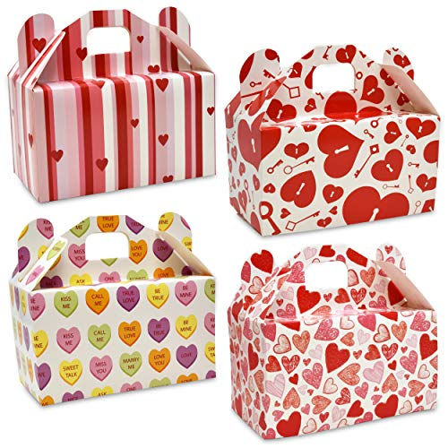 Valentine's Day Treat Boxes 48 Pack Cardboard Hearts Goody Bag Cookie Holder Classroom Crafts Supplies Party Favors 4 Designs by Gift Boutique Measures: 6.2 x 3.5 x 3.5 Inches]()
