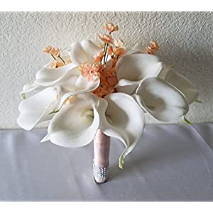Ivory Peach Calla Lily Bridal Wedding Bouquet & Boutonniere 104