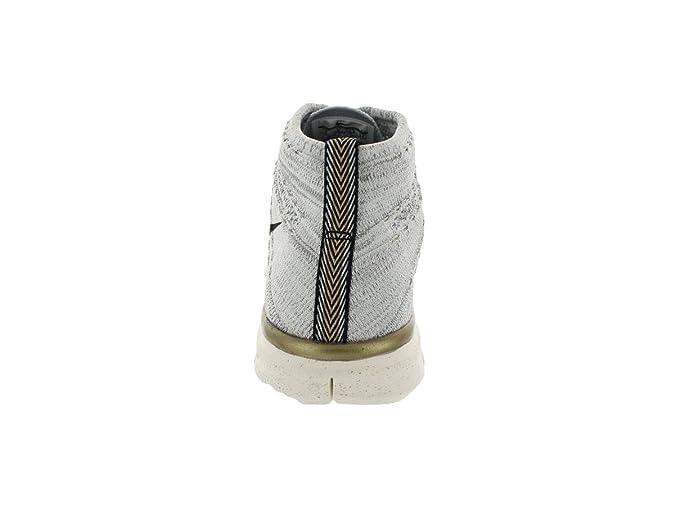 ecdf9cbf9bd90 NIKE Mens Free Flyknit Chukka PR QS Ivory/Mtllc Gold-Silver Woven