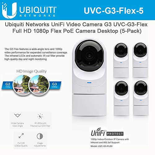 UniFi Video Camera G3 UVC-G3-Flex Full HD 1080p Flex PoE Camera Desktop Network Camera with Night Vision (5-Pack)