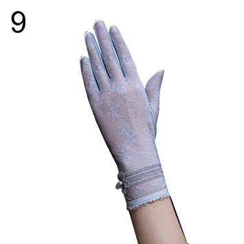 US Multi-color Women Summer Lace Silk Gloves Ladies Outdoor Anti UV Sun Mittens