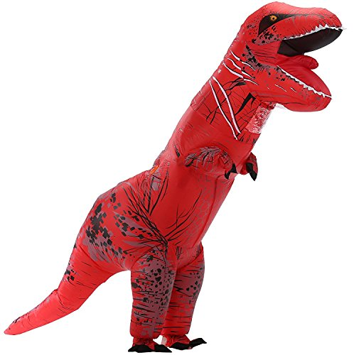 Qshine Halloween Inflatable T-Rex Dinosaur Dress up Funny Simulation Luxury Cosplay Costume Suit (Adult, Red)