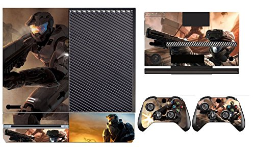 The Cosines Stickers® Microsoft Xbox One Protective Vinyl Designer Skins Stickers for Console with Kinect and Two Wireless Controller Decal, B Games - Halo 3 Reach ODST