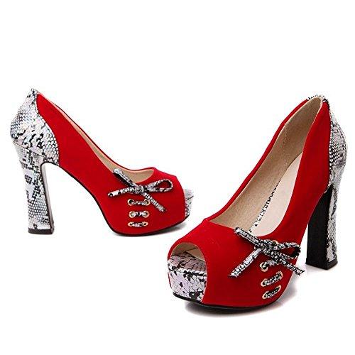 Red Peep Bombas Zapatos Mujer RAZAMAZA Toe YfgAAq